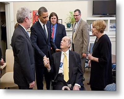 President Obama Greets James Brady Metal Print by Everett