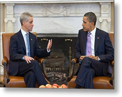 President Obama Meets With Chicago Metal Print by Everett