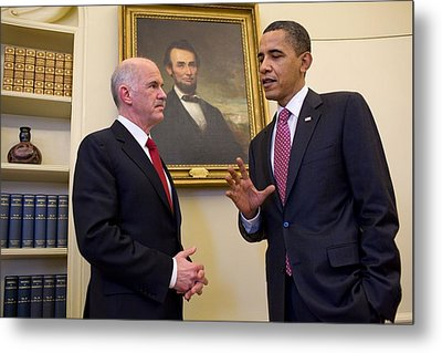 President Obama Meets With Greek Prime Metal Print by Everett