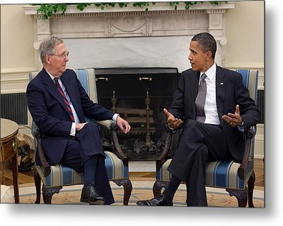 President Obama Meets With Senate Metal Print by Everett