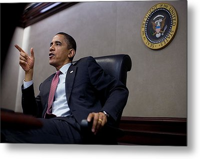 President Obama Speaks During A Meeting Metal Print by Everett