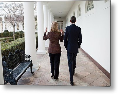 President Obama Walks With Hillary Metal Print by Everett
