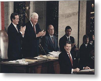 President Reagan Receives A Standing Metal Print by Everett
