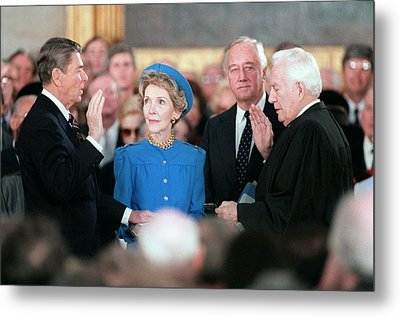 President Reagan Taking The Oath Metal Print by Everett