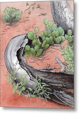 Prickly Pear Cacti In Zion Metal Print by Inger Hutton