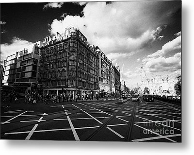 Princes Street And St David Street South With Tram Lines And Old Waverly Hotel Edinburgh Scotland Uk Metal Print by Joe Fox