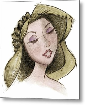 Princess - Drawing With Digital Color Metal Print by Andrew Fling