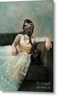 Princess In Gas Mask 2 Metal Print by Jill Battaglia