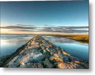 Province Town Jetty At Sunrise Metal Print by Linda Pulvermacher