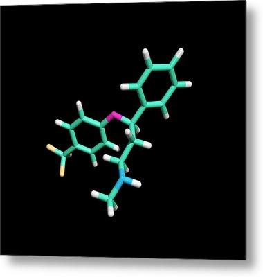 Prozac Antidepressant Drug Molecule Metal Print by Dr Tim Evans