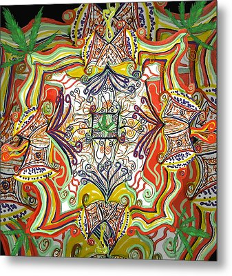 Psychedelic Art - The Jester's Cap Metal Print by Barbara Giordano