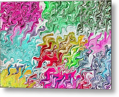 Pulling Colors Abstract Metal Print by Debbie Portwood