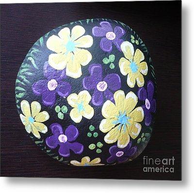 Purple And Yellow Flowers Metal Print by Monika Shepherdson