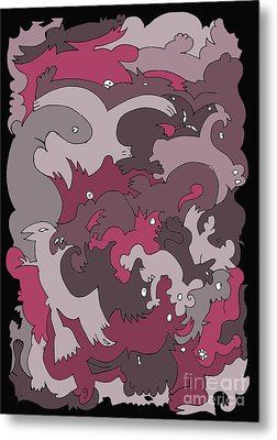 Purple Creatures Metal Print by Barbara Marcus