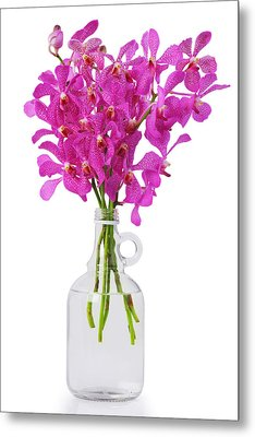 Purple Orchid In Bottle Metal Print by Atiketta Sangasaeng