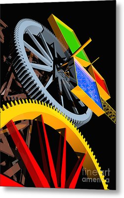 Pythagorean Machine Portrait 4 Metal Print by Russell Kightley