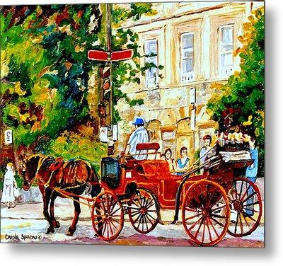 Quebec City Street Scene The Red Caleche Metal Print by Carole Spandau