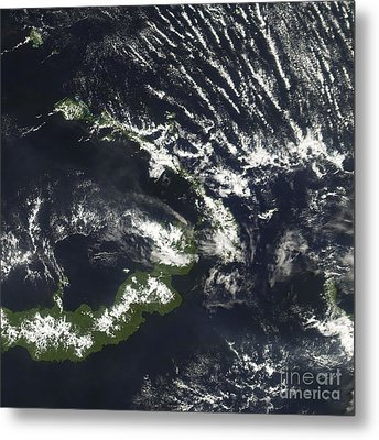 Rabaul Volcano On The Island Of Papua Metal Print by Stocktrek Images