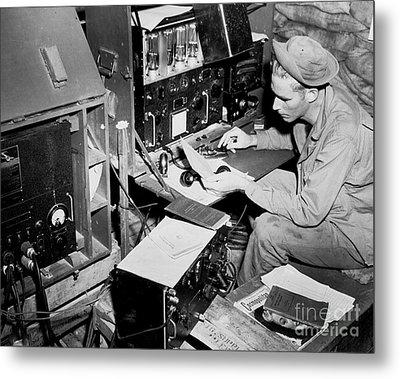 Radio Operator Operates His Scr-188 Metal Print by Stocktrek Images