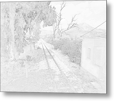Railroad Crossing In Pencil Sketch Look On The Way From Mycenae To Olympia In Greece Metal Print by John Shiron