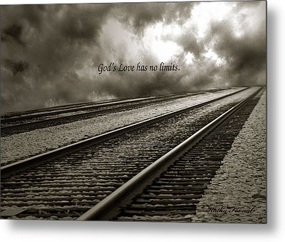 Railroad Tracks Storm Clouds Inspirational Message  Metal Print by Kathy Fornal