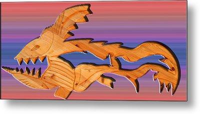 Rainbow Dinosaur Fish Metal Print by Robert Margetts