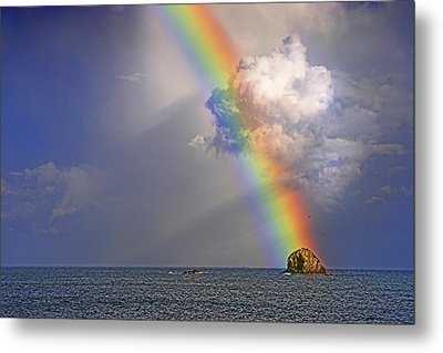 Rainbow On Birdrock- St Lucia. Metal Print by Chester Williams