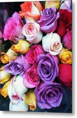 Rainbow Rose Bouquet Metal Print by Anna Villarreal Garbis