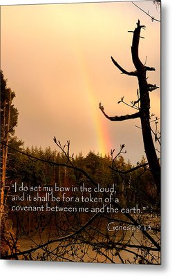 Rainbow Scripture Genesis 9 Metal Print by Cindy Wright