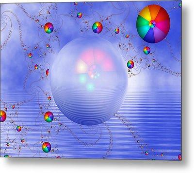 Rainbow Sphere On Blue Lake Metal Print by Pam Blackstone