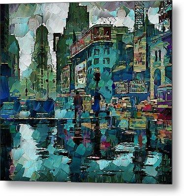 Rainy Nyc Metal Print by Yury Malkov