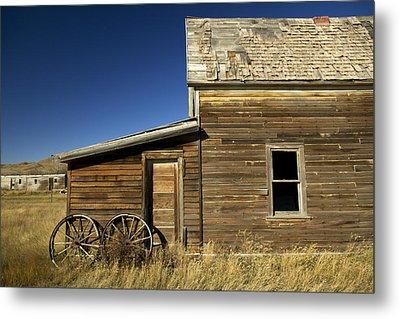 Ranchers House In Prairie Semi-ghost Metal Print by Pete Ryan