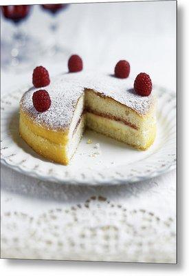 Raspberry Sponge Cake Metal Print by Veronique Leplat