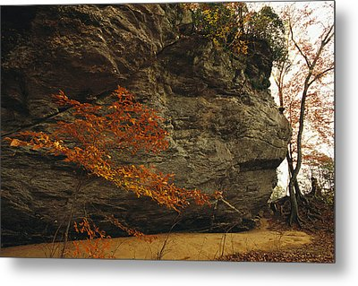Raven Rock, Trail, And Autumn Colored Metal Print by Raymond Gehman