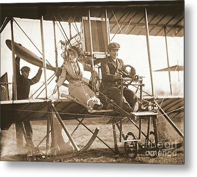 Ready For Takeoff 1912 Sepia Metal Print by Padre Art