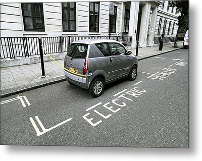 Recharging An Electric Car Metal Print by Martin Bond