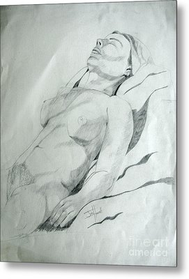 Reclining Nude Metal Print by Julie Coughlin