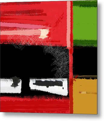 Red And Green Square Metal Print by Naxart Studio