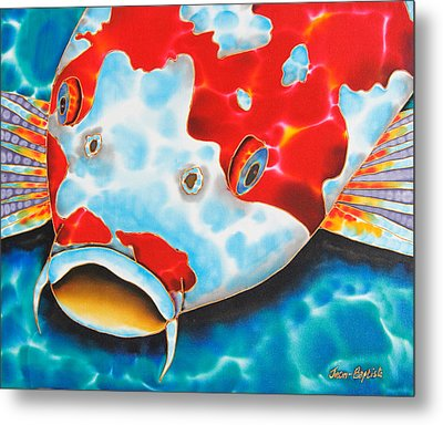 Red And White Koi     Metal Print by Daniel Jean-Baptiste