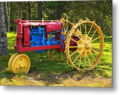 Red And Yellow Tractor Metal Print by Garry Gay