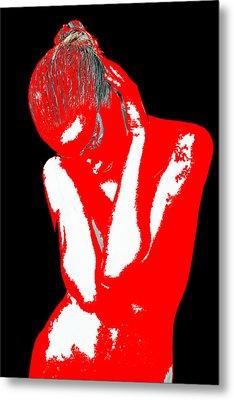 Red Black Drama Metal Print by Naxart Studio
