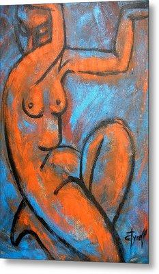 Red Caryatid - Nudes Gallery Metal Print by Carmen Tyrrell