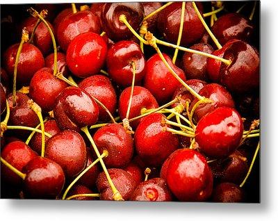 Red Cherries Metal Print by Jen Morrison