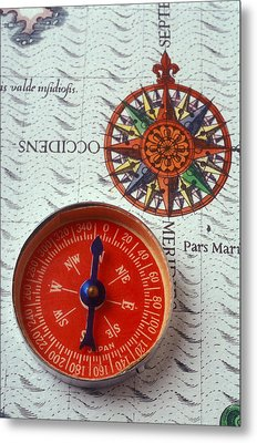 Red Compass And Rose Compass Metal Print by Garry Gay