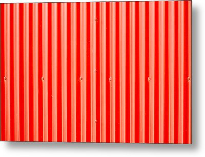 Red Corrugated Metal Metal Print by Tom Gowanlock