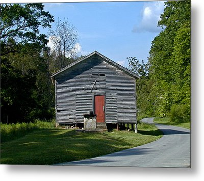 Red Door Of The One Room School House Metal Print by Douglas Barnett