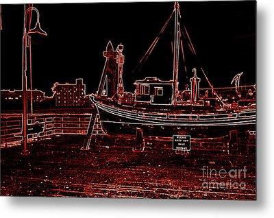 Red Electric Neon Boat On Sc Wharf Metal Print by Garnett  Jaeger