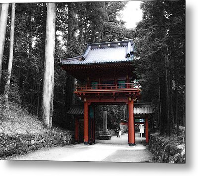 Red Gate Metal Print by Naxart Studio