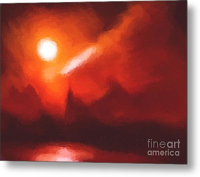Red Mountains Metal Print by Pixel Chimp