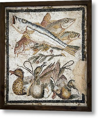 Red Mullets And Ducks, Roman Mosaic Metal Print by Sheila Terry